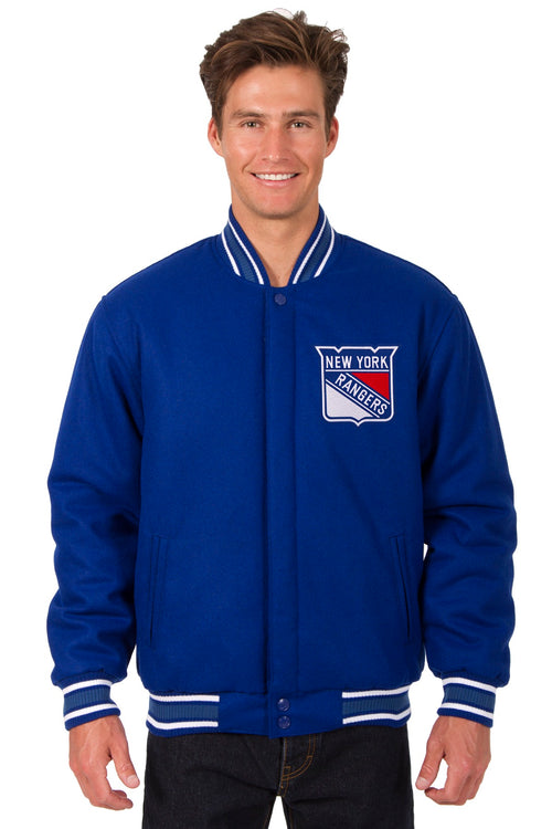 New York Rangers All-Wool Reversible Jacket (Front and Back Logos)