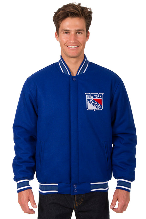 New York Rangers All-Wool Reversible Jacket (Front Logos Only)