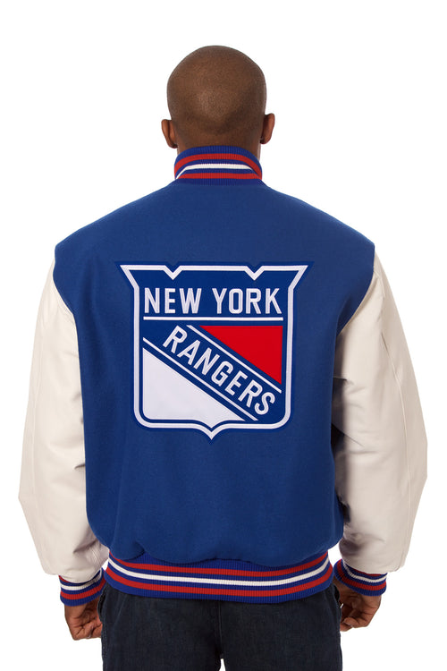 New York Rangers Embroidered Wool and Leather Jacket