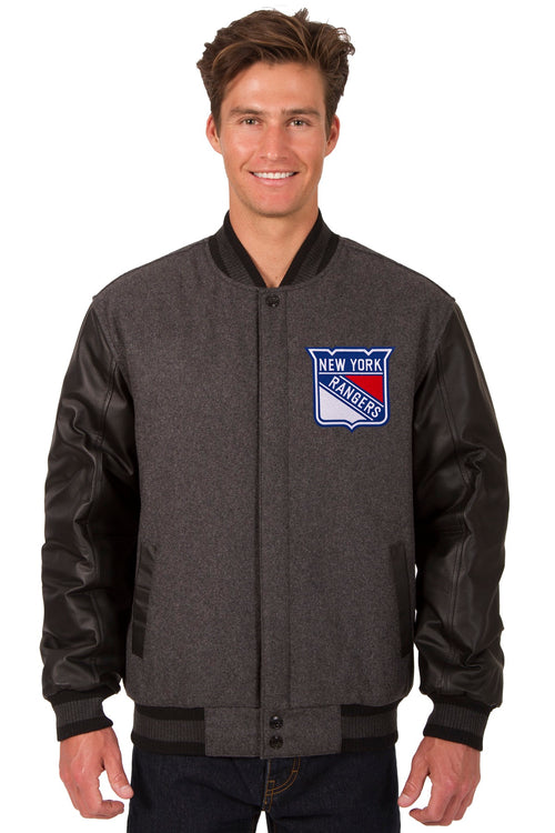 New York Rangers Wool and Leather Reversible Jacket (Front and Back Logos)