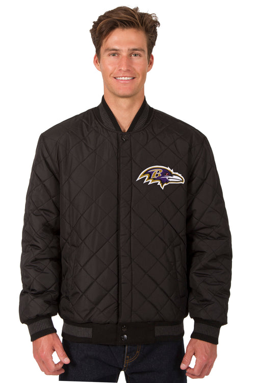 Baltimore Ravens Reversible Wool and Leather Jacket (Front Logos Only)