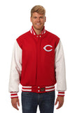 Cincinnati Reds Embroidered Wool and Leather Jacket