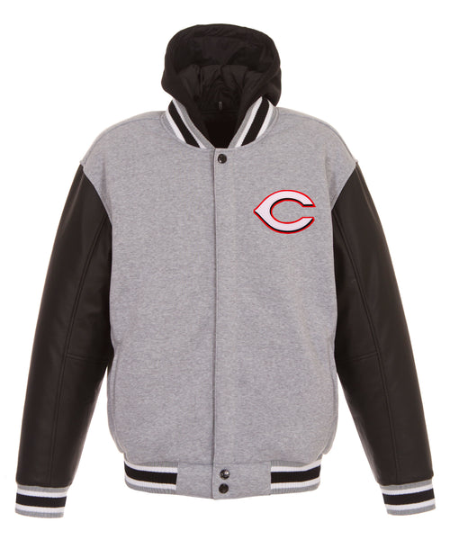 Cincinnati Reds Reversible Fleece Jacket with Faux Leather Sleeves
