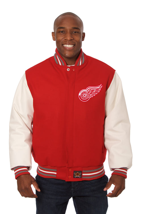 Detroit Red Wings Embroidered Wool and Leather Jacket