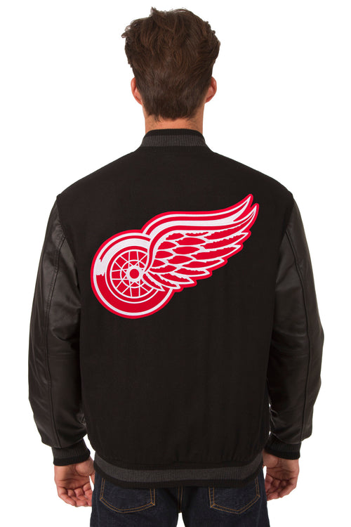 Detroit Red Wings Wool and Leather Reversible Jacket (Front and Back Logos)