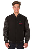 Houston Rockets Reversible Wool and Leather Jacket (Front Logos Only)