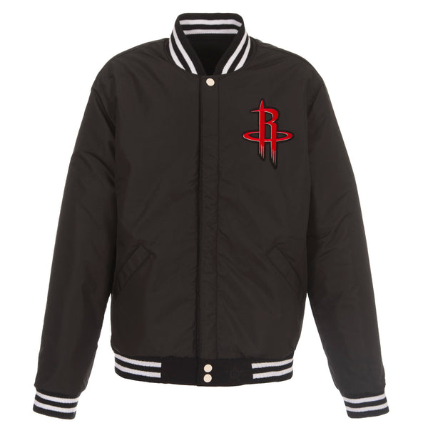 Houston Rockets Reversible Fleece and Faux Leather Jacket (Front Logos Only)