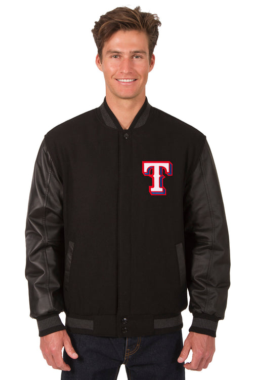Texas Rangers Reversible Wool and Leather Jacket