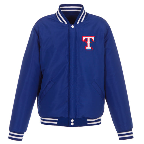 Texas Rangers Reversible Fleece Jacket with Faux Leather Sleeves