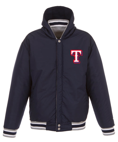 Texas Rangers Reversible Fleece and Faux Leather Jacket