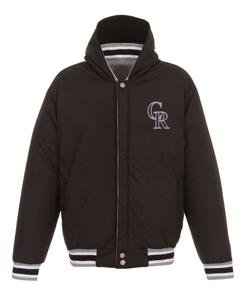 Colorado Rockies Reversible Fleece Jacket with Faux Leather Sleeves