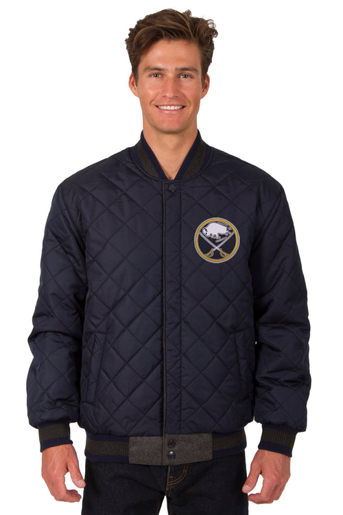 Buffalo Sabres Wool and Leather Reversible Jacket (Front Logos Only)