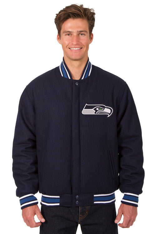 Seattle Seahawks All-Wool Reversible Jacket (Front and Back Logos)