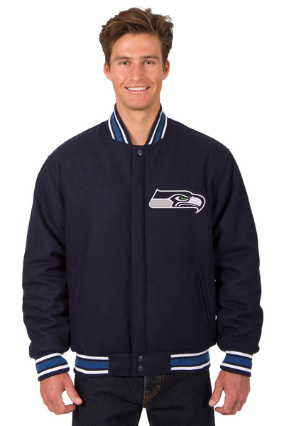 promo code 4f804 aeb47 Seattle Seahawks All-Wool Reversible Jacket (Front Logos Only)
