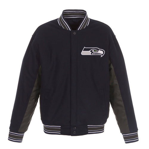 Seattle Seahawks Reversible Wool Jacket (Front and Back Logos)