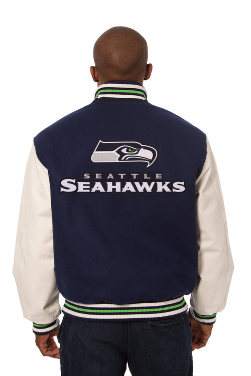 Seattle Seahawks Embroidered Wool and Leather Jacket