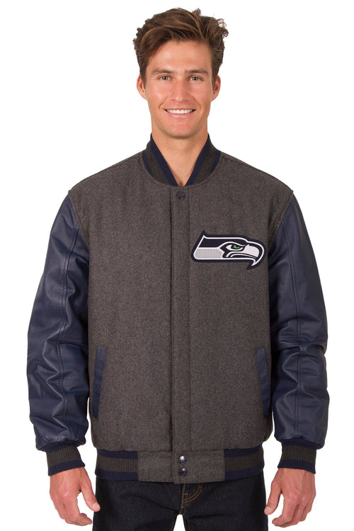 Seattle Seahawks Reversible Wool and Leather Jacket (Front and Back Logos)