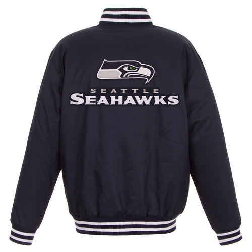 Seattle Seahawks Poly-Twill Jacket (Front and Back Logos)