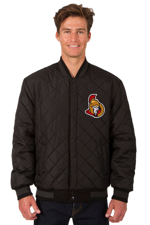 Ottawa Senators Wool and Leather Reversible Jacket (Front Logos Only)