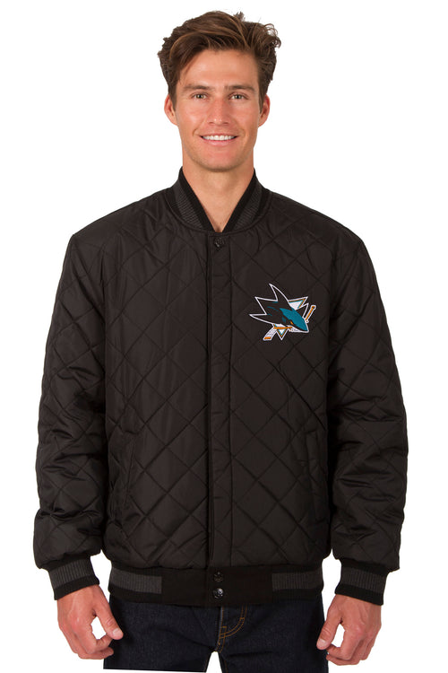San Jose Sharks Reversible Wool and Leather Jacket