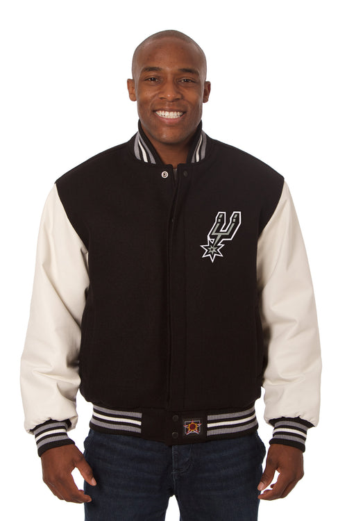 San Antonio Spurs Embroidered Wool and Leather Jacket