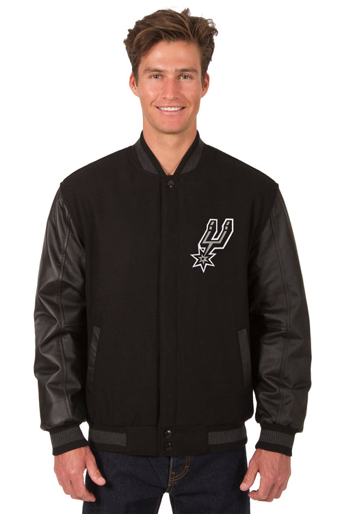 San Antonio Spurs Reversible Wool and Leather Jacket (Front Logos Only)