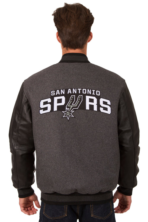 San Antonio Spurs Reversible Wool and Leather Jacket (Front and Back Logos)