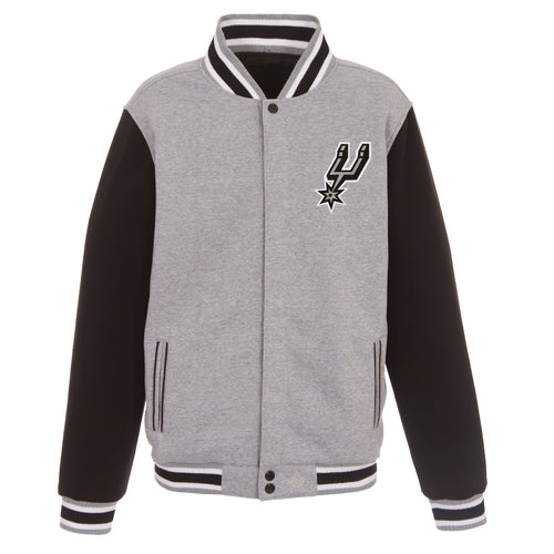 San Antonio Spurs Reversible Fleece Jacket (Front and Back Logos)