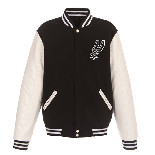 San Antonio Spurs Reversible Fleece and Faux Leather Jacket (Front and Back Logos)