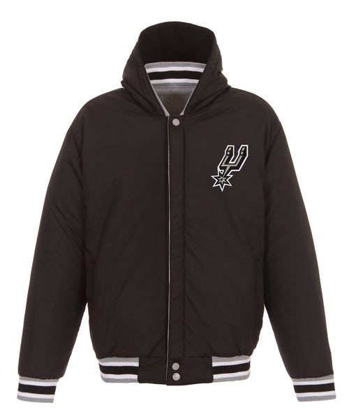 San Antonio Spurs Reversible Fleece and Faux Leather Jacket (Front Logos Only)