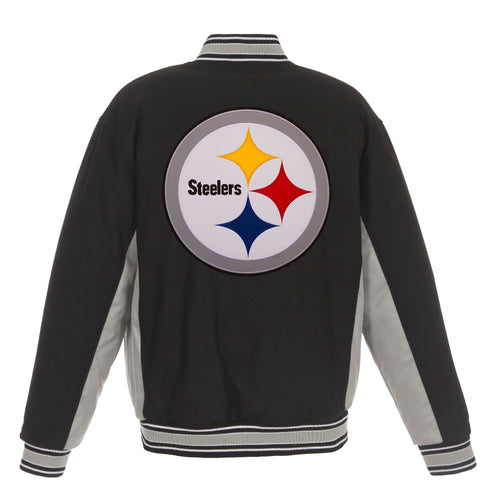 Pittsburgh Steelers Reversible Wool Jacket (Front and Back Logos)