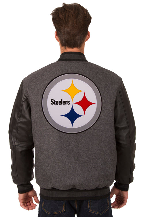 Pittsburgh Steelers Reversible Wool and Leather Jacket (Front and Back Logos)