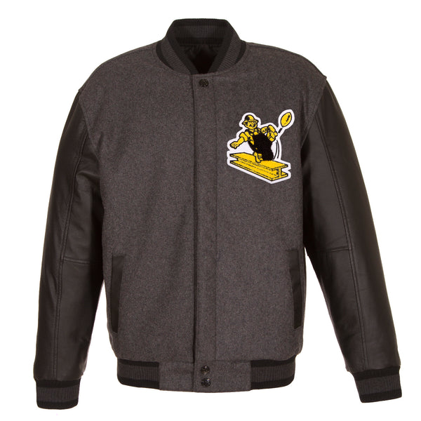 on sale a0594 e9c45 Pittsburgh Steelers Reversible Wool and Leather Jacket ...