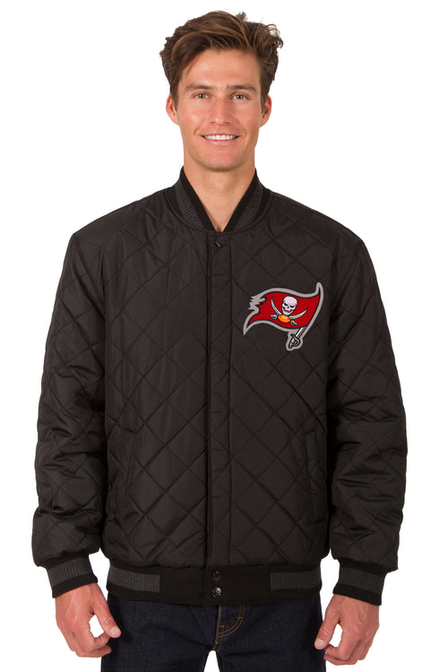 Tampa Bay Buccaneers Reversible Wool and Leather Jacket (Front Logos Only)