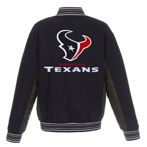 Houston Texans Reversible Wool Jacket (Front and Back Logos)