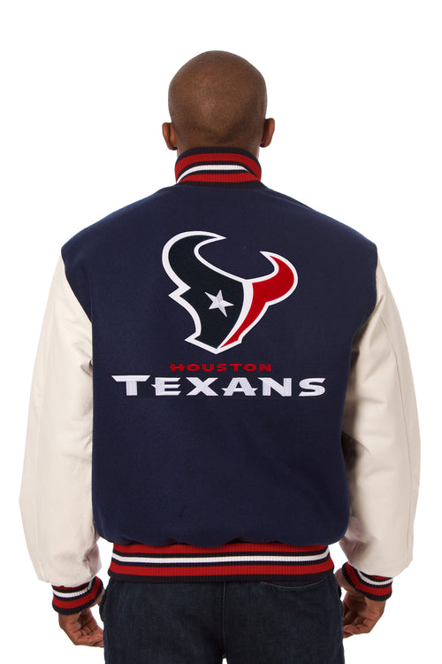 Houston Texans Embroidered Wool and Leather Jacket