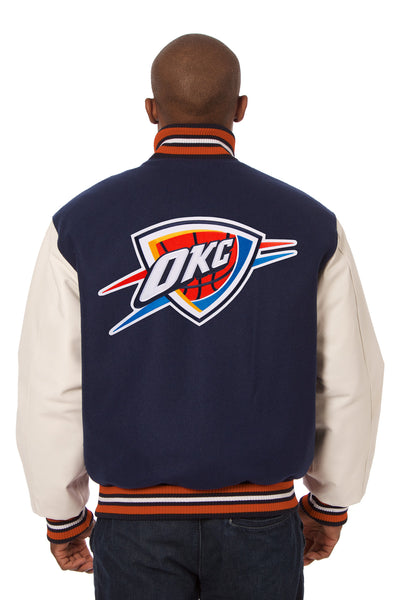 Oklahoma City Thunder Embroidered Wool and Leather Jacket