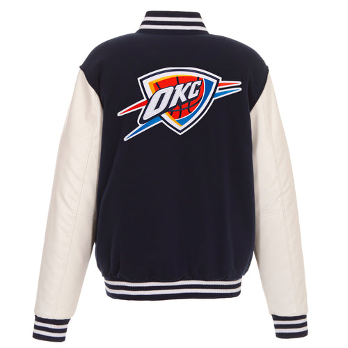 Oklahoma City Thunder Reversible Fleece and Faux Leather Jacket (Front and Back Logos)