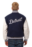 Detroit Tigers Embroidered Wool and Leather Jacket
