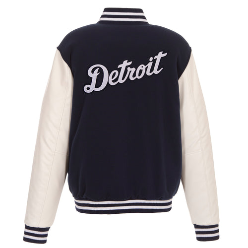 Detroit Tigers Reversible Fleece Jacket with Faux Leather Sleeves