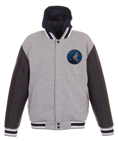 Minnesota Timberwolves Reversible Fleece and Faux Leather Jacket (Front Logos Only)