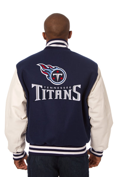 Tennessee Titans Embroidered Wool and Leather Jacket