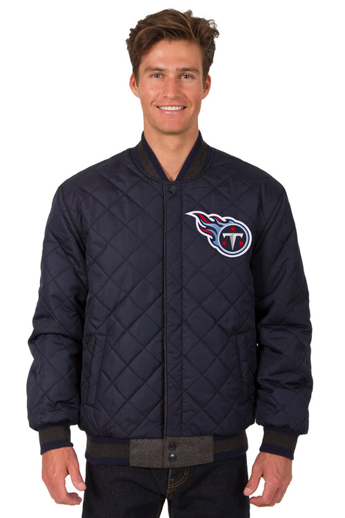Tennessee Titans Reversible Wool and Leather Jacket (Front Logos Only)