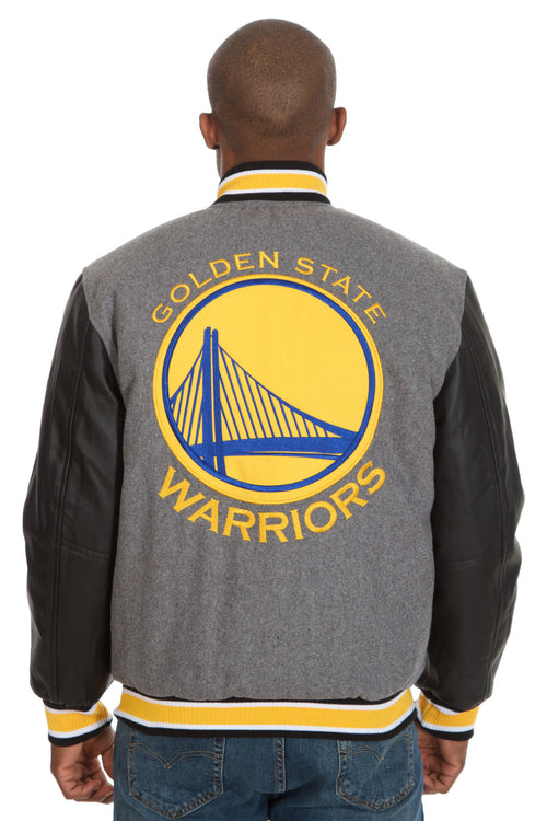 Golden State Warriors Reversible Wool Jacket with Faux Leather Sleeves