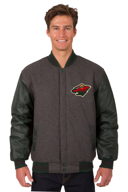 Minnesota Wild Wool and Leather Reversible Jacket (Front and Back Logos)