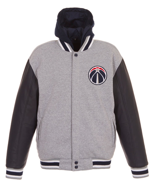 Washington Wizards Reversible Fleece and Faux Leather Jacket (Front Logos Only)