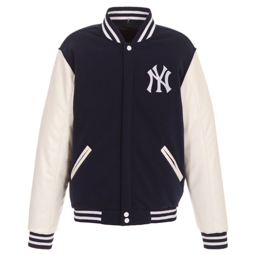 New York Yankees Reversible Fleece Jacket  with Faux Leather Sleeves
