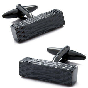 Satin Black Rectangle Cufflinks