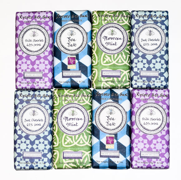 Rococo Chocolate Mini Bee Artisan Bars - Pack of 8 x 20g - Heavenly-Chocolates - artisan handmade chocolates