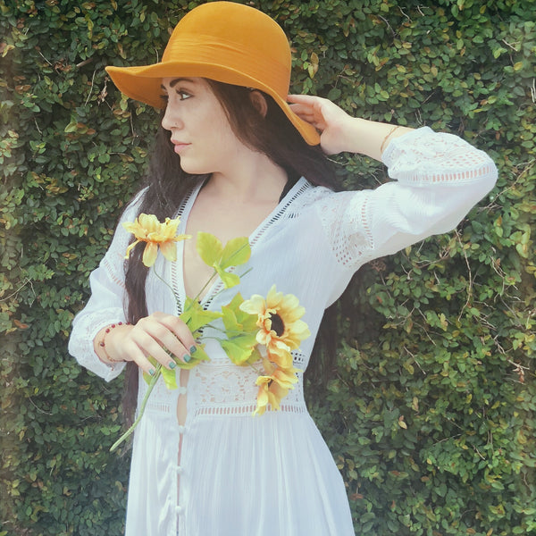 vintage golden yellow floppy hat